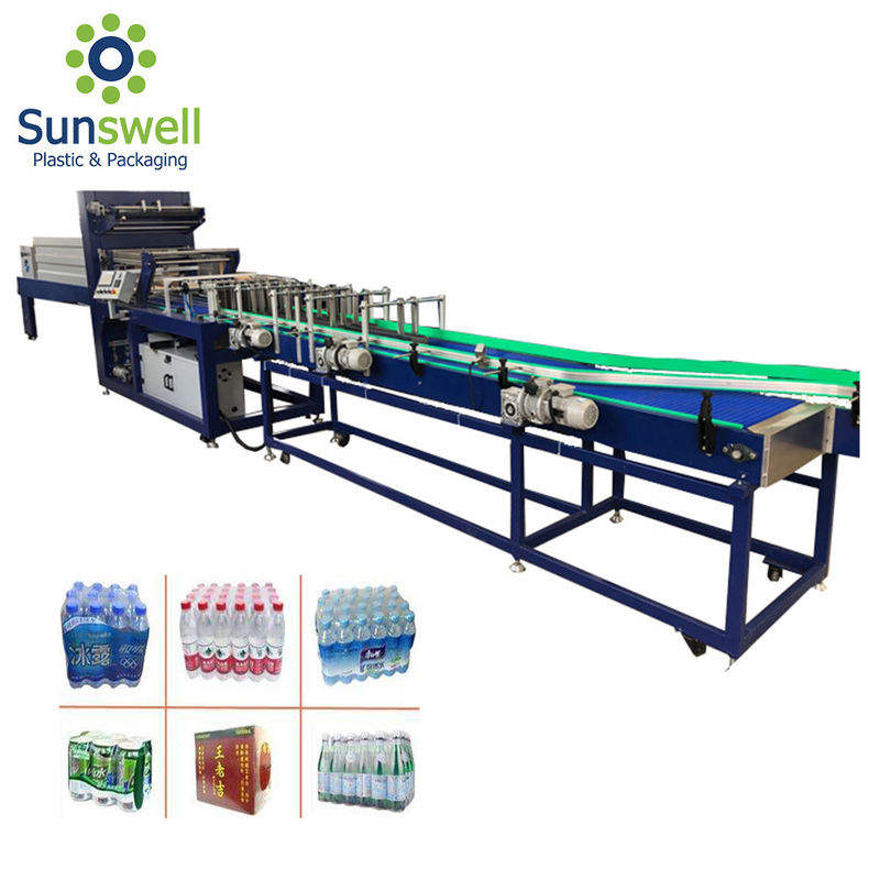 PVC PE Film Shrink Packaging Equipment , Water Bottle Heat Wrapping Machine